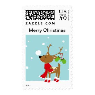 Merry Christmas Reindeer Postage Stamps