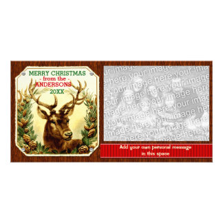 Merry Christmas Reindeer Ribbon Personalized Card