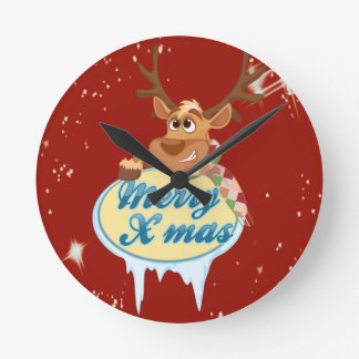 Merry Christmas Reindeer Round Clock