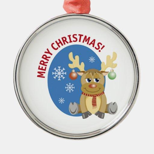 Merry Christmas Reindeer Round Ornament