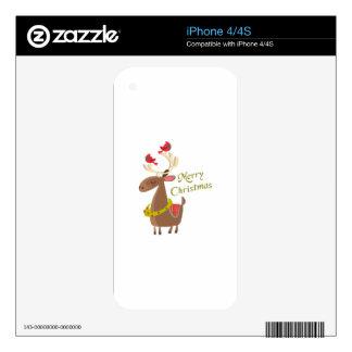 MERRY CHRISTMAS REINDEER iPhone 4S SKIN