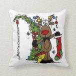 Merry Christmas Reindeer Throw Pillows