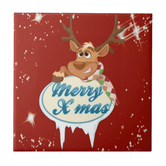 Merry Christmas Reindeer Tile