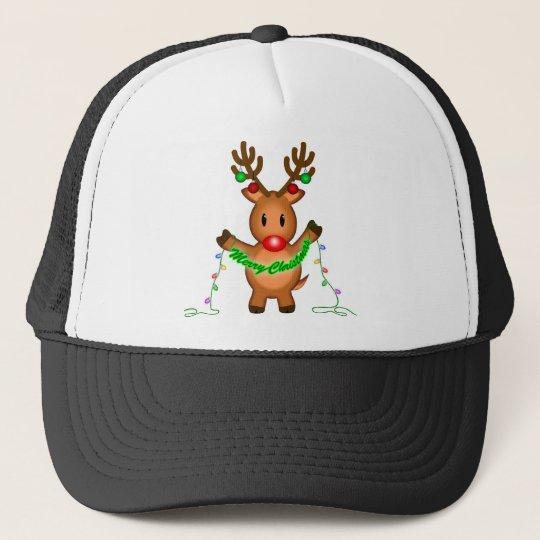 Merry Christmas Reindeer Trucker Hat