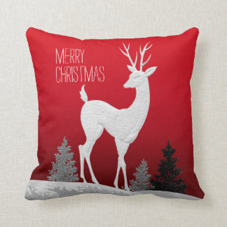Merry Christmas Reindeer vintage | red Pillow