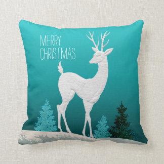 Merry Christmas Reindeer vintage | teal Throw Pillow