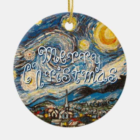 Merry Christmas repainted Starry Night Van Gogh Ceramic Ornament