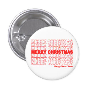 Merry Christmas Retro Holiday Pinback Buttons