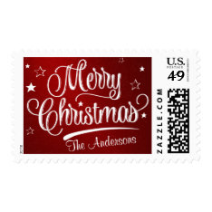 Merry Christmas Retro Script Holiday Postage at Zazzle