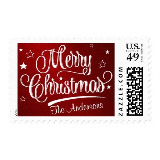 Merry Christmas Retro Script Holiday Postage