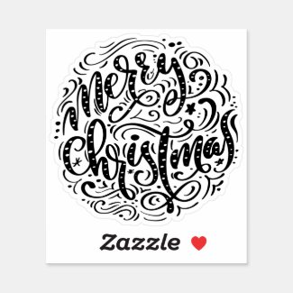 Merry Christmas retro typography Sticker