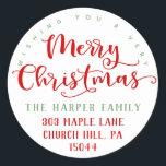 "Merry Christmas Return Address Classic Round Sticker<br><div class=""desc"">Personalized Wishing You A Very Merry Christmas Return Address Stickers.</div>"