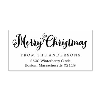 Merry Christmas Return Address Rubber Stamp