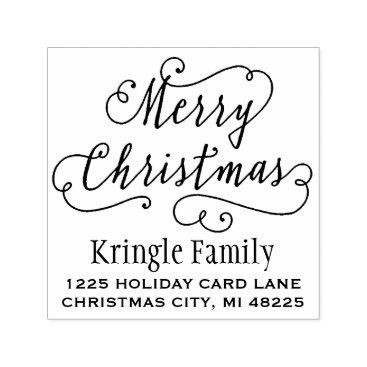 Christmas Themed Merry Christmas | Return Address Self-inking Stamp