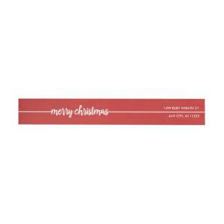 Merry Christmas return address, you choose color! Wrap Around Label