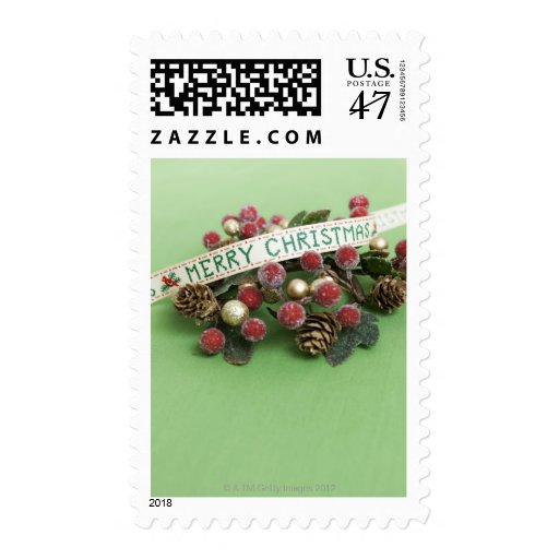 Merry Christmas ribbon and decoration Postage Stamp