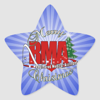 MERRY CHRISTMAS RMA REGISTERED MEDICAL ASSISTANT STAR STICKER