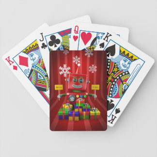 Merry Christmas Robot Bicycle Playing Cards