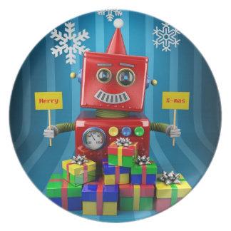 Merry Christmas Robot Dinner Plate