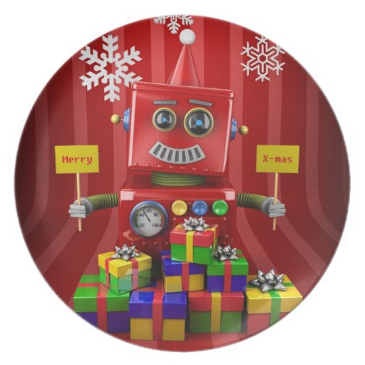 Merry Christmas Robot Party Plates