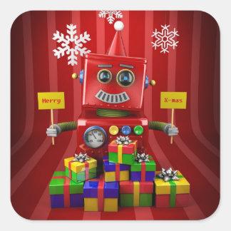 Merry Christmas Robot Square Sticker