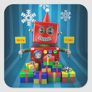 Merry Christmas Robot Square Sticker