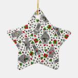 Merry Christmas Robots Ceramic Ornament