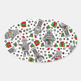 Merry Christmas Robots Oval Sticker
