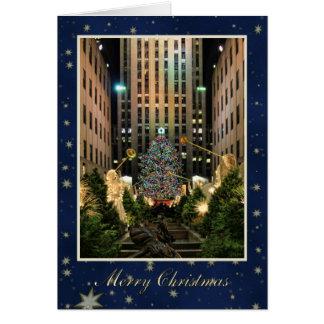 Merry Christmas: Rock Center, Blue Starry Sky Card