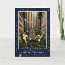 Merry Christmas: Rock Center, Blue Starry Sky Holiday Card