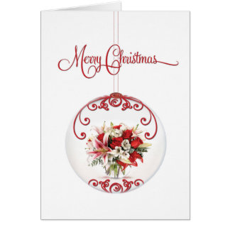 Merry Christmas Rose Bouquet Ornament for Business Card