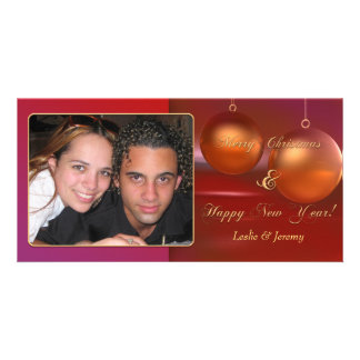 Merry Christmas Rose Gold Baubles Photo Card