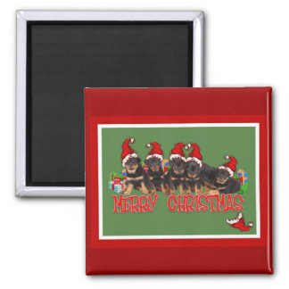 Merry Christmas Rottweiler Puppies 2 Inch Square Magnet