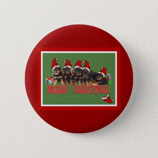 Merry Christmas Rottweiler Puppies Pinback Button