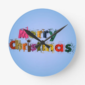 Merry Christmas Round Clock