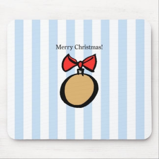 Merry Christmas Round Gold Ornament Mousepad Blue