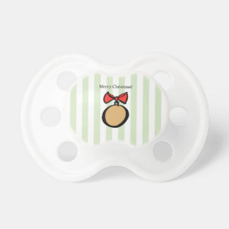 Merry Christmas Round Gold Ornament Pacifier Green