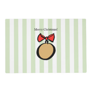 Merry Christmas Round Gold Ornament Placemat Green
