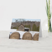 Merry Christmas round hay bales Holiday Card