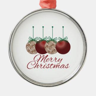 Merry Christmas Round Metal Christmas Ornament
