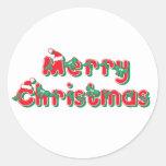 Merry Christmas Round Stickers