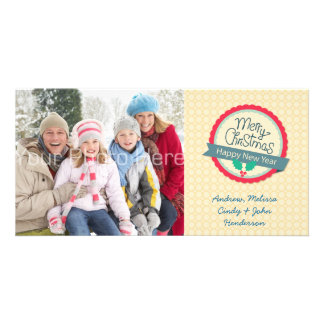 Merry Christmas Round Tag, Photo Card