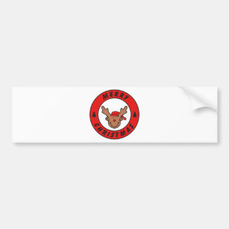 Merry Christmas Rudolf annuitant with tree Bumper Sticker