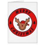 Merry Christmas Rudolf annuitant with tree Cards