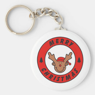 Merry Christmas Rudolf annuitant with tree Keychains