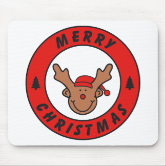 Merry Christmas Rudolf annuitant with tree Mouse Pad