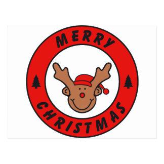 Merry Christmas Rudolf annuitant with tree Postcard