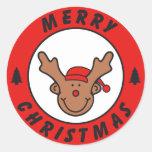 Merry Christmas Rudolf Rentier mit baum Runder Aufkleber
