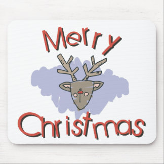 Merry Christmas Rudolph Doodle Mousepads