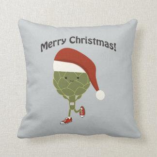 Merry Christmas! Running Artichoke Throw Pillow